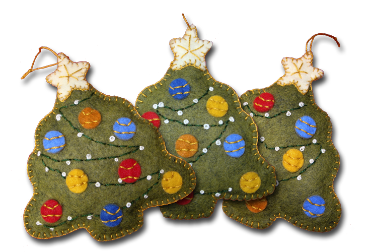 this kit makes three ornaments 312 high that are filled with stuffing and decorated on both sides the decoration consists of a variety of colored balls